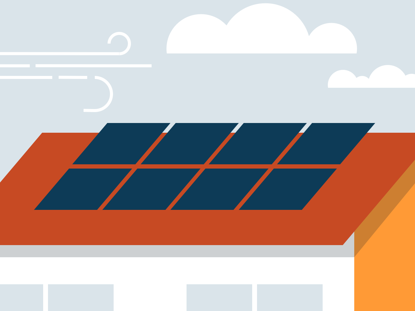 Solar panels on a roof—illustration © CU Green 2018